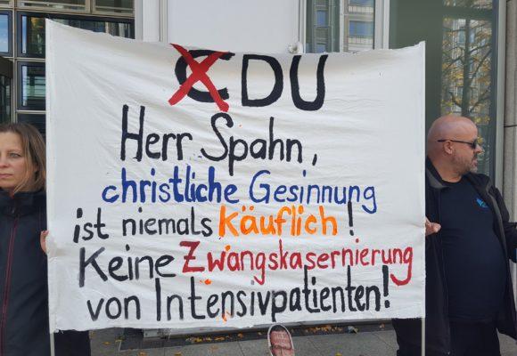 """Protestplakat: """"christliche Gesinnung ist niemals käuflich"""""""