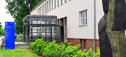 Forum Adlershof, Eingang Bunsen-Saal, Volmerstraße 2. Copyright: WISTA Management